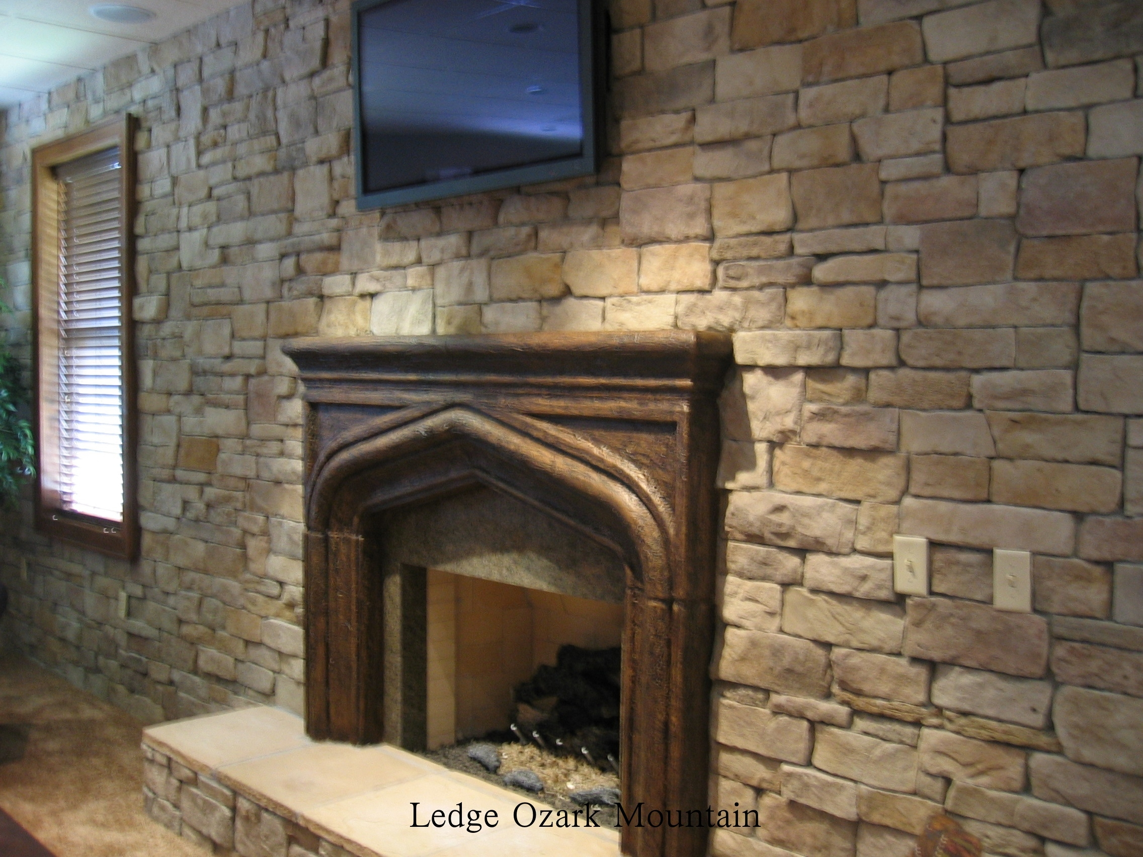 stone acccent wall with flat screen and fireplace
