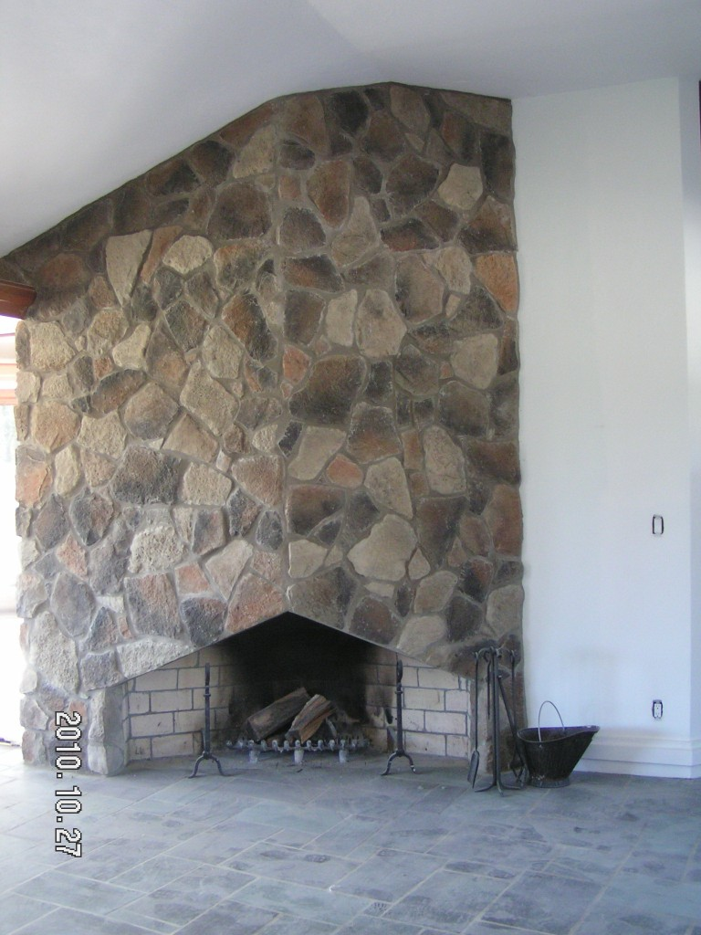 Cottage Style Fireplace-Fieldstone veneer
