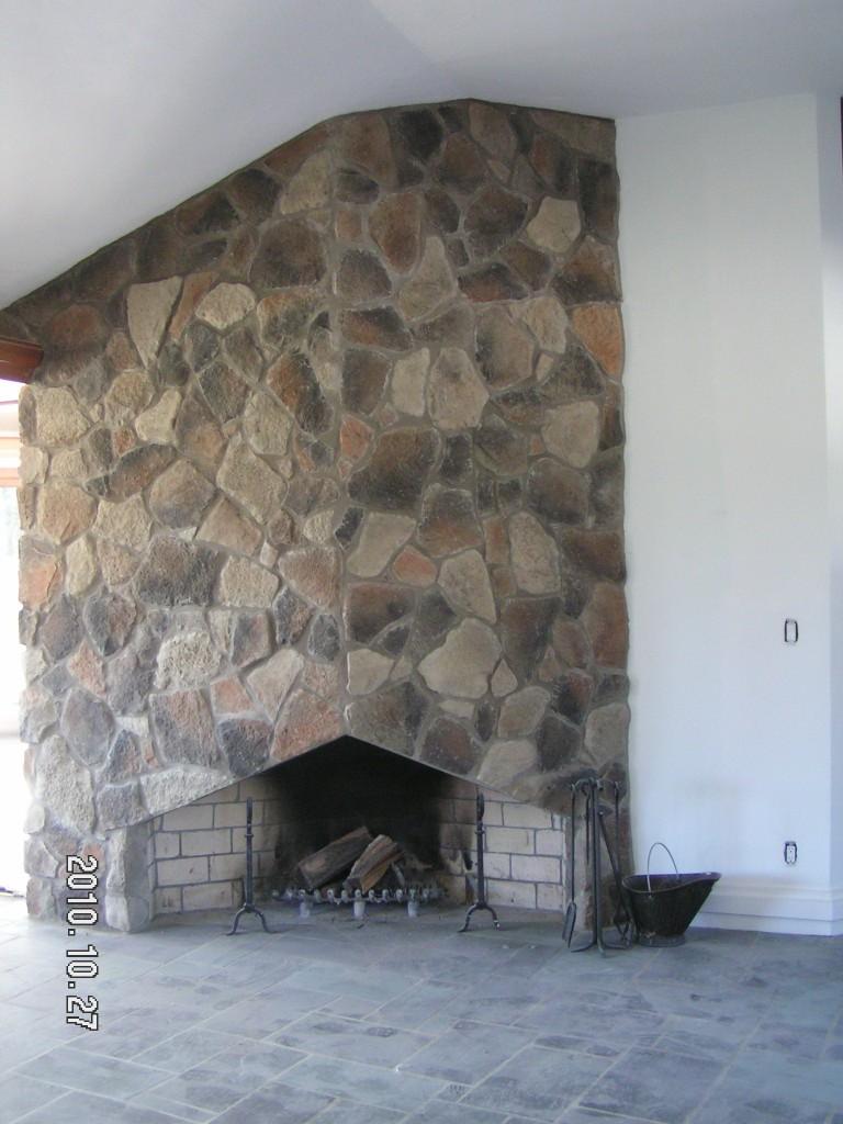 Cottage Style Fireplace-Fieldstone veneer