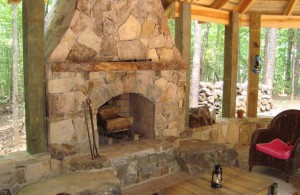 outdoor living with stone veneer