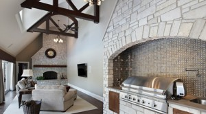 Combining Stone veneer at fireplace and cooking area
