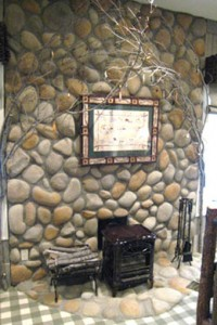 River Rock Fireplace Design