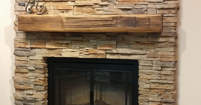 Fireplace with Rustic Mantel