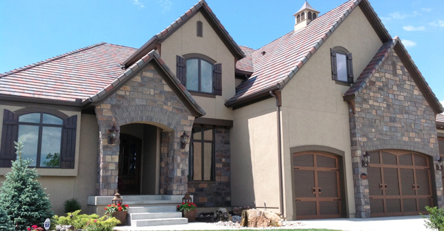Stucco with Stone Accents