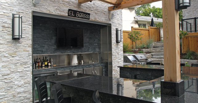 NATURAL STONE PANEL QUARTZITE LEDGESTONE OYSTER SHELL MIDNIGHT BLACK OUTDOOR LIVING