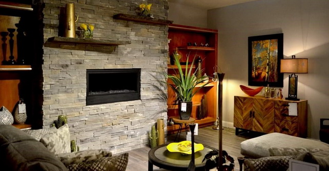 Ledgestone Golden Grey - Fireplace